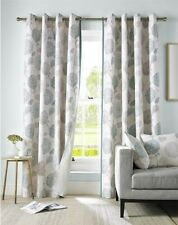FLORAL FLOWERS LEAVES DUCK EGG BLUE CREAM LINED ANNEAU TOP CURTAINS 9 SIZES