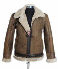 Mens RAF Rust Brown Real New Shearling Sheepskin Leather Jacket