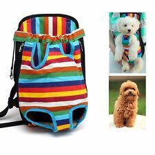 Rainbow Pet Cat Canvas Backpack Front Tote Carrier Puppy Dog Safe Travel Net Bag