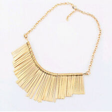 Fashion Vintage Chunky Metal Silver Gold Tone Chain Tassle Drop Necklace