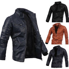 Mens Fall Pu Leather Casual Zipper Jacket Long Sleeve Coat Stand Collar Outwear
