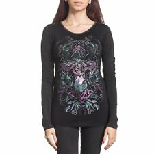 Sinful by Affliction Melody Lane Long Sleeve Scoop Neck Tee Lava Wash