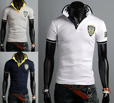 New Stylish Mens Pullover Polo Shirt Casual Slim Fit Short Sleeve T-Shirts uni