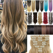 Best Quality Full Head Clip In Hair Extensions Long Curly Ombre Hair Extension A