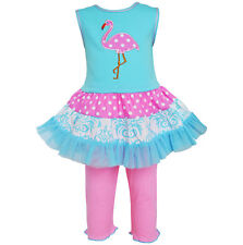 AnnLoren Pink Flamingo Dress & Legging Outfit Girls Clothing sz 12/18 mo - 9/10