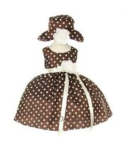 New Baby Girls Brown & White Polka Dot Dress Summer Spring Pageant Easter 1097C
