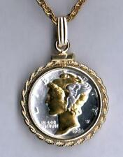 """Mercury Dime (minted 1916 - 1945) 18"""" Silver & 24k Gold Plated Coin Necklace #2"""