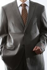 MENS 2 BUTTON SUPER 140S WOOL OLIVE SUIT FLAT FRONT, 40412N-40405-OLI
