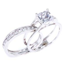 2 Ct Princess Cut 2-Piece Engagement Wedding Ring Band Set Solid 14K White Gold