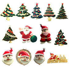 MagiDeal Enamel Gold Plated Christmas Tree Santa Claus Pendant Brooch Jewelry