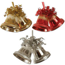 Peeks Gold Red Silver Hanging Twin Bells Christmas Xmas Ceiling Decorations 17cm