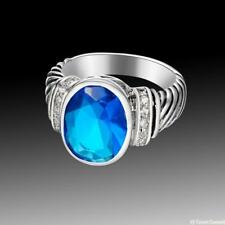 Vintage Beautiful Jewelry Blue Topaz 925 Sterling Silver Gemstone Ring size 789