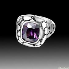 New Vintage Snakeskin Fashion Jewelry Amethyst 925 Sterling Silver Ring size 789