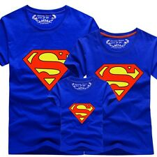 Superman Family Matching Clothes Mom Dad Kid Baby Summer T-Shirt Top Tee Blue