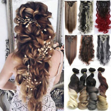 UK Real Thick Full Head Clip In Hair Extensions Wavy Straight Hair Piece 8Pcs P2