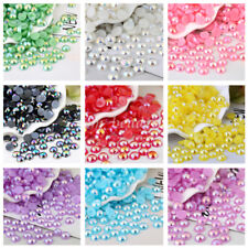 50Pcs 10mm Faux Pearl Half Round Ball Flatback Bead Resin Jewelry Making No Hole