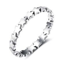 925 Sterling Silver Cute Stars Eternity Band Ring Size 6-8