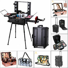 US Pro Rolling Trolley Lighted Makeup Case Box Cosmetic Jewelry Beauty Clear Bag