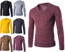 Fashion Men Casual Pullover Knit Shirt V-neck Sweater Long Sleeve T-shirt Tops 1