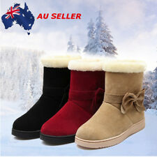 Winter Women's Snow Ankle Boots BowKnot Suede Warm Flat Platform Casual Shoes