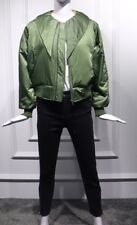 Women Green Quilted Bow Collar Ruffle Sleeves Bomber Zip Jacket