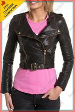 Women's Genuine Lambskin Leather Jacket Brown Slimfit Biker Motorcycle Jacket 24