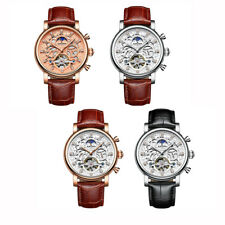 KINYUED Male Watch Automatic Mechanical Wrist Watch Leather Band With Gift Box