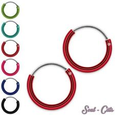 Hoop Earrings Sterling Silver 925 Coloured painted earrings, 1 Set or 1 Pair