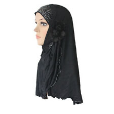 Muslim Hijab Islamic Scarf Woman Amira Cap Beautiful Drill with 2 Cloth Flowers