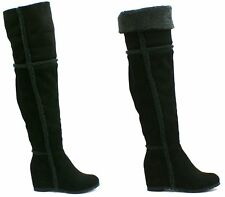 Womens Ladies Over The Knee High Long Faux Suede Wedge Heel Winter Boots Shoes S