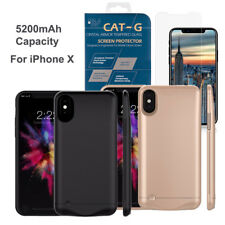 5200mAh External Backup Battery Cover Case Charger+Tempered Glass for IPHONE X