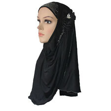 Muslim Hijab Islamic Scarf Woman Amira Cap Beautiful Drill Plastic Diamend Pearl