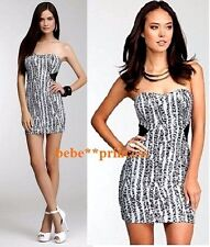 NWT bebe XS S M L white black sequins strapless contrast mesh bustier top dress