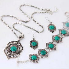 Turquoise Ethnic Style Vintage Jewelry Earrings Necklace Bracelet Jewelry Sets