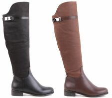 LADIES MILITARY KNEE HIGH LOW HEEL FLAT BUCKLE BIKER RIDING BOOTS SHOES SIZE