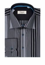 Gray and Black Stripes Modern Fit Sport Shirt by Tiglio Sport
