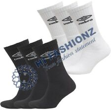Mens 9x12 Pairs Authentic Umbro Sports Socks White Black Navy Grey Free Fast P&P
