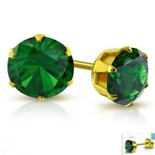 Emerald color Stud Earrings Yellow Gold PVD Hypoallergenic