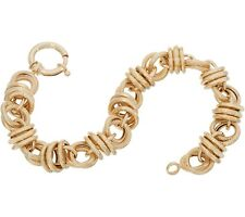Textured Status Rolo Circle Link Bracelet Real 14K Yellow Gold QVC ALL SIZES
