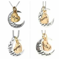 I LOVE YOU TO THE MOON AND BACK SILVER GOLD MOON PENDANT NECKLACE BRACELET UK