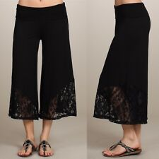 Gaucho Pants Lace Cropped Wide Leg Palazzo Casual Capri Fold Over Waist Stretchy
