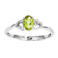 925 Sterling Silver Peridot Oval Cut Ring - 0.504cttw