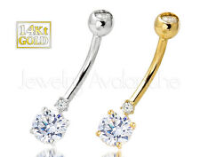 14Kt Gold Belly Ring, 14Kt Gold Belly Button Ring, 14G Banana Barbell Navel Ring