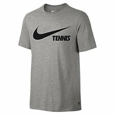 NIKE Men's Swoosh Tennis Tee Dark Grey Heather/Black