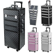 Pro 4PCS Interchangeable Aluminum Rolling Makeup Case Cosmetic Train Box Trolley