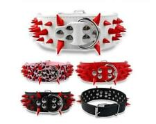 "2""Spiked Studded PU Leather Dog Collar for Medium Large Dogs Pitbull Mastiff"