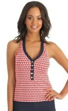 NWT Nautica Size 10 Halter Bra Top + Skirted Brief Swimsuit Sails Away Navy Red