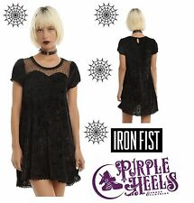 Iron Fist Black Cave Creeps Sweetheart Black Spiderweb Trapeze Dress XS-L