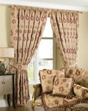 CREAM RED TAPESTRY CHENILLE FLORAL PENCIL PLEAT CURTAINS 3 SIZES