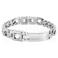 Silver Bracelet Stainless Steel Checkered Plate Zirconia Length in mm: 200 or